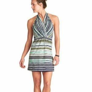 ATHLETA Stripe Print GO ANYWHERE HALTER Dress Sz 8